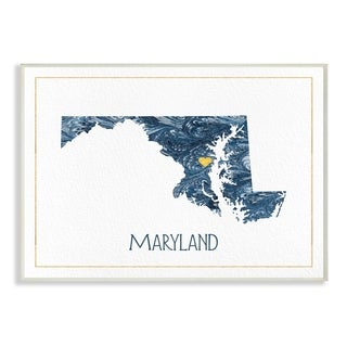 The Stupell Home Decor Maryland Minimal Blue Marbled Paper Silhouette Wall Plaque Art, 10 x 15, Proudly Made in USA