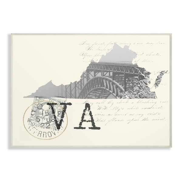 The Stupell Home Decor Virginia Black and White on Cream Paper Postcard Wall Plaque Art, 10 x 15, Proudly Made in USA