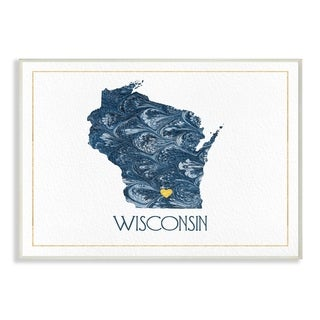 The Stupell Home Decor Wisconsin Minimal Blue Marbled Paper Silhouette Wall Plaque Art, 10 x 15, Proudly Made in USA
