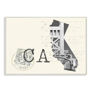 The Stupell Home Decor California Black and White on Cream Paper Postcard Wall Plaque Art, 10 x 15, Proudly Made in USA