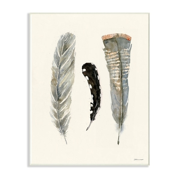 The Stupell Home Decor Three Soft Grey and Black Watercolor Feathers Wall Plaque Art, 10 x 15, Proudly Made in USA