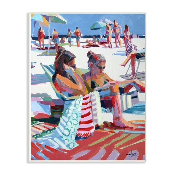 The Stupell Home Decor Bright Colored Painting Girls Reading at the Beach Wall Plaque Art, 10 x 15, Proudly Made in USA