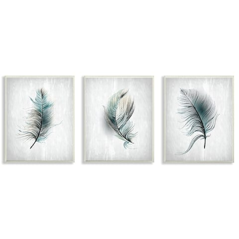 The Gray Barn Grey and Blue Wispy Falling Feathers 3-piece Wall Plaque Art - 3pc, each 10 x 15