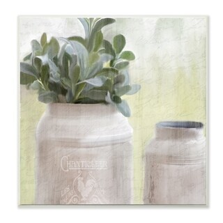 The Stupell Home Decor White Farmhouse Mill Can Filled with Greenery Wall Plaque Art, 12 x 12, Proudly Made in USA - 12 x 12