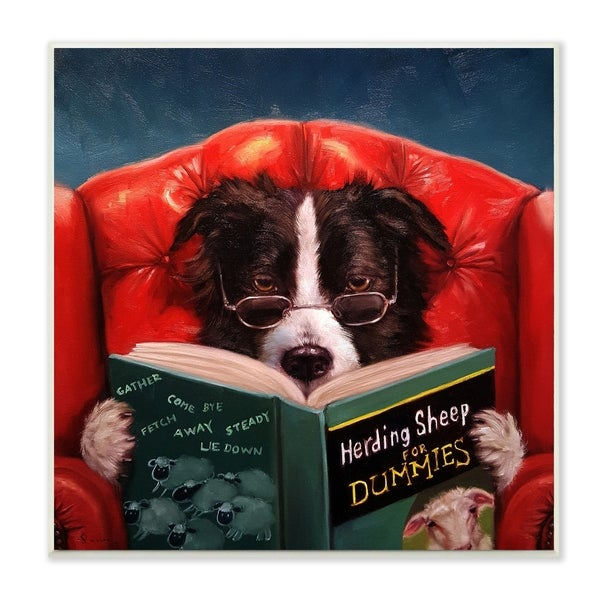 The Stupell Home Decor Herding Sheep Dog Reading For Dummies Funny Wall Plaque Art 12