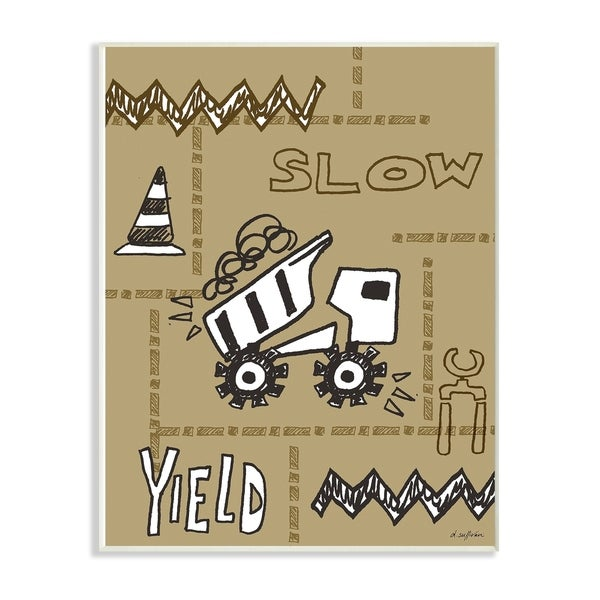 The Kids Room By Stupell Slow Yield Tan Dump Truck Construction Zone Wall Plaque Art, 10 x 15, Proudly Made in USA