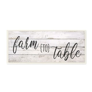 The Stupell Home Decor Farmhouse Planked Look Farm to Table Sign Wall Plaque Art, 7 x 17, Proudly Made in USA - 7 x 17