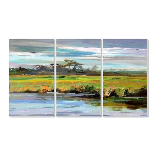 The Stupell Home Decor Bright Green Painterly Waterfront Wall Plaque Art, 3pc, each 11 x 17, Proudly Made in USA