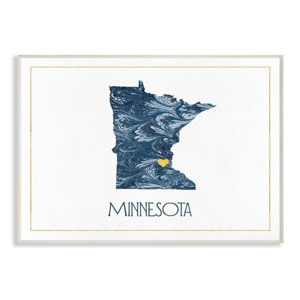 The Stupell Home Decor Minnesota Minimal Blue Marbled Paper Silhouette Wall Plaque Art, 10 x 15, Proudly Made in USA