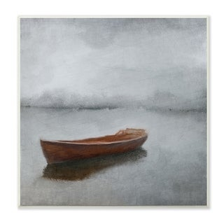 The Stupell Home Decor Calm Sea Soft Grey Horizon with Red Boat Wall Plaque Art, 12 x 12, Proudly Made in USA - 12 x 12