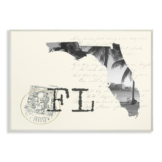 The Stupell Home Decor Florida Black and White on Cream Paper Postcard Wall Plaque Art, 10 x 15, Proudly Made in USA