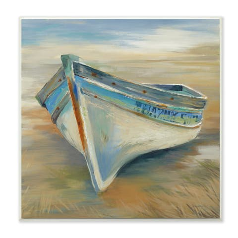 The Stupell Home Decor Painterly Blue Green and Rust Rowboat in the Grass Wall Plaque Art, 12 x 12, Proudly Made in USA