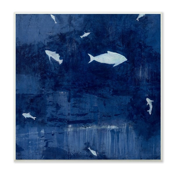 The Stupell Home Decor Deep Blue Fish Negative Space Silhouettes Painting Wall Plaque Art, 12 x 12, Proudly Made in USA