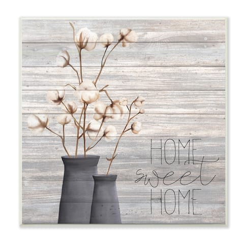 The Gray Barn Home Sweet Home Cotton Flowers in Vase Canvas Wall Art