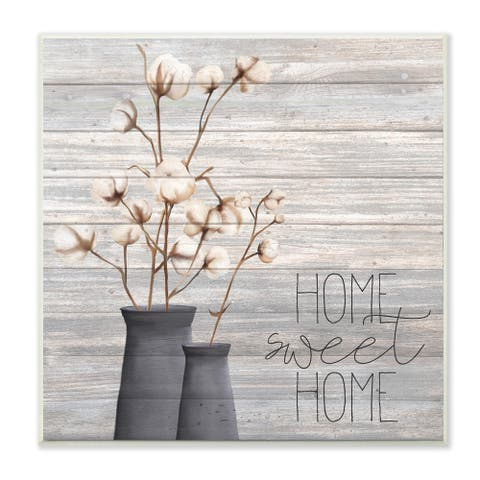 The Gray Barn Home Sweet Home Cotton Flowers in Vase Canvas Wall Art - 12 x 12