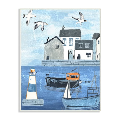 The Stupell Home Decor Lighthouse Seagulls Illustrated Dock Scene Wall Plaque Art, 10 x 15, Proudly Made in USA