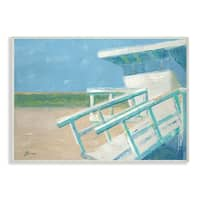 The Stupell Home Decor Painterly Blue and Green Lifeguard House Wall Plaque Art, 10 x 15, Proudly Made in USA