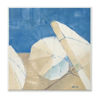 The Stupell Home Decor Umbrellas and a Royal Blue Sky Beach Painting Wall Plaque Art, 12 x 12, Proudly Made in USA - 12 x 12