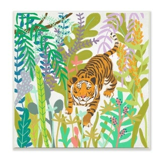 The Stupell Home Decor Bright Jungle Tiger in the Brush Illustration Wall Plaque Art, 12 x 12, Proudly Made in USA - 12 x 12