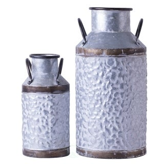 Rustic Farmhouse Galvanized Metal Milk Can Decoration Planter, Vase
