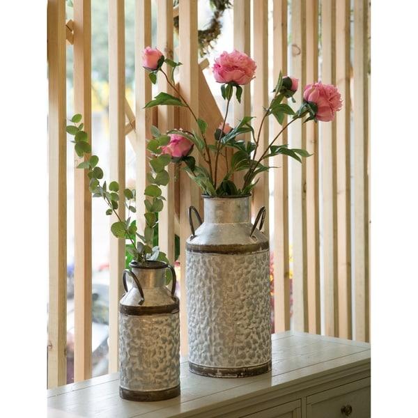 Vintage Milk Churn Galvanised Metal Rustic Flowers And Garden Storage Container