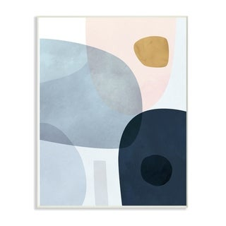 The Stupell Home Decor Mod Slate Blue  Navy and Peach Overlapping Wall Plaque Art, 10 x 15, Proudly Made in USA