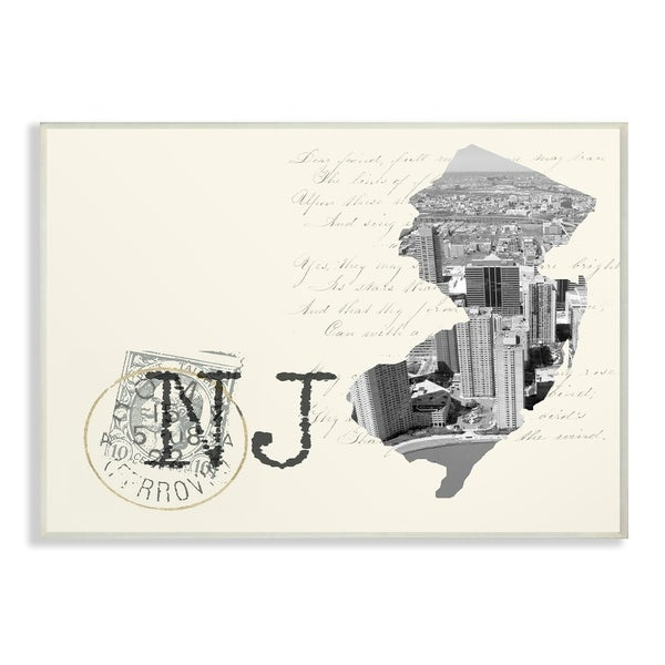 The Stupell Home Decor New Jersey Black and White on Cream Paper Postcard Wall Plaque Art, 10 x 15, Proudly Made in USA