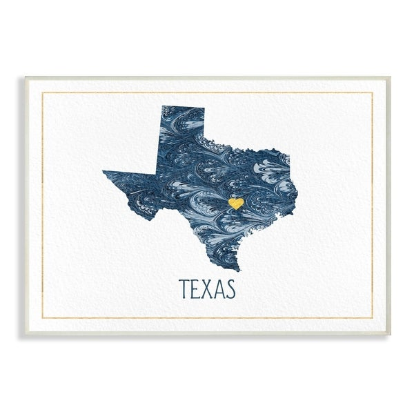 The Stupell Home Decor Texas Minimal Blue Marbled Paper Silhouette Wall Plaque Art, 10 x 15, Proudly Made in USA