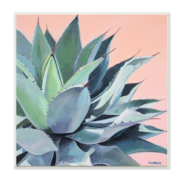 The Stupell Home Decor Painted Aloe Succulent on Coral Peach Ground Wall Plaque Art, 12 x 12, Proudly Made in USA - 12 x 12
