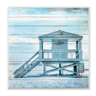 The Stupell Home Decor Blue Tinted Shack on the Beach Planked Look Wall Plaque Art, 12 x 12, Proudly Made in USA - 12 x 12