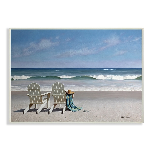 Porch & Den Two White Adirondack Chairs on the Beach Wall Plaque Art - 10 x 15
