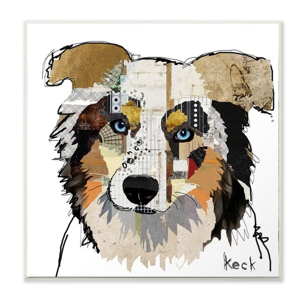 The Stupell Home Decor Color Block Australian Shepherd Portrait Wall Plaque Art, 12 x 12, Proudly Made in USA - 12 x 12