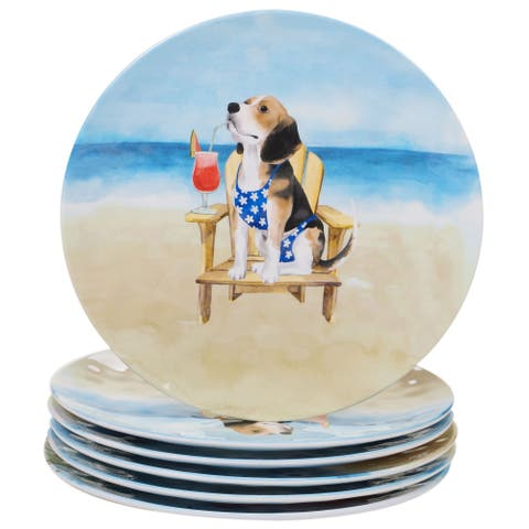 Certified International Hot Dogs 11-inch Dinner Plates, Set of 6