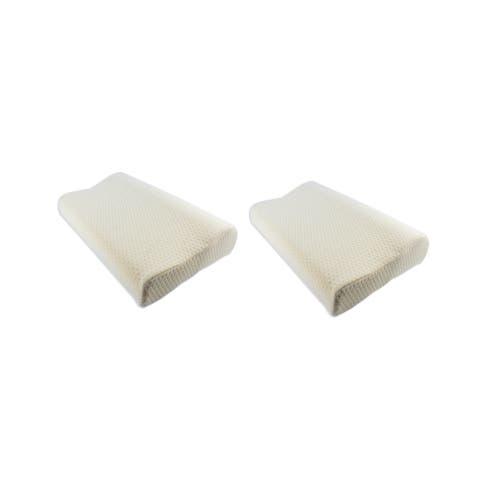 Euro Style Collection Ergonomic Premium Pillow with Memory Foam-Set of 2