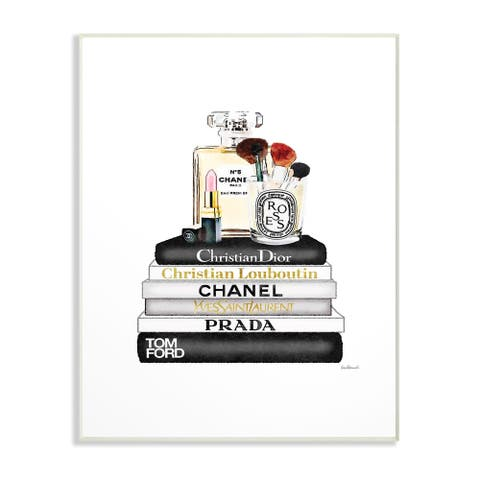 The Stupell Home Decor Neutral Black and White Fashion Bookstack Wall Plaque Art, 10 x 15, Proudly Made in USA
