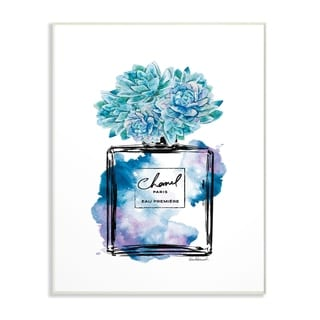 The Stupell Home Decor Watercolor Fashion Perfume Bottle with Blue Flowers Wall Plaque Art, 10 x 15, Proudly Made in USA