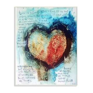 The Stupell Home Decor Red and Blue Painted Heart Over Words Collage Art Wall Plaque Art, 10 x 15, Proudly Made in USA