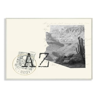 The Stupell Home Decor Arizona Black and White on Cream Paper Postcard Wall Plaque Art, 10 x 15, Proudly Made in USA