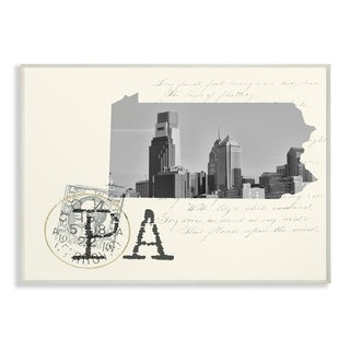 The Stupell Home Decor Pennsylvania Black and White on Cream Paper Wall Plaque Art, 10 x 15, Proudly Made in USA