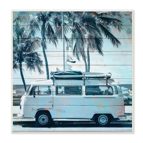 The Stupell Home Decor Blue Tinted Retro Van By the Beach Planked Look Wall Plaque Art, 12 x 12, Proudly Made in USA - 12 x 12