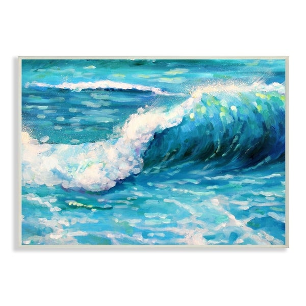 The Stupell Home Decor Bright Teal Blue Painterly Ocean Waves Wall Plaque Art, 10 x 15, Proudly Made in USA