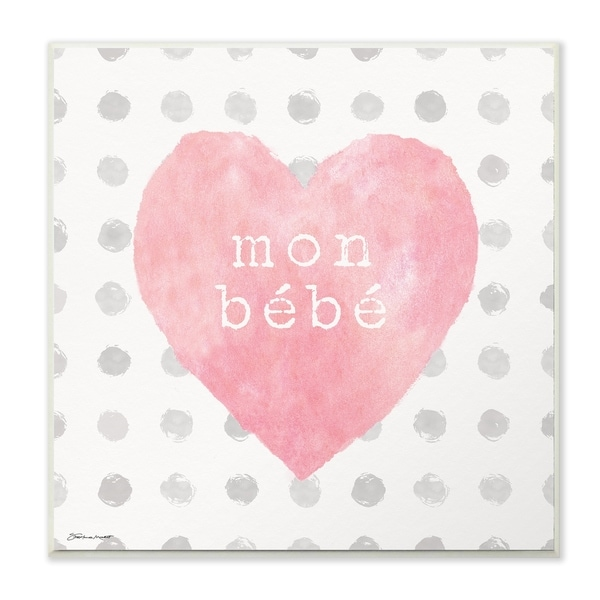 The Stupell Home Decor Mon Babe Pink Watercolor Heart on Polka Dots Wall Plaque Art, 12 x 12, Proudly Made in USA - 12 x 12