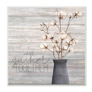 The Stupell Home Decor Grey Gather Together Cotton Flowers in Vase Wall Plaque Art, 12 x 12, Proudly Made in USA - 12 x 12