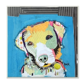 The Stupell Home Decor Paint Splatter Color Block Labrador Portrait Wall Plaque Art, 12 x 12, Proudly Made in USA - 12 x 12
