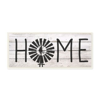 The Stupell Home Decor Farmhouse Planked Look Home Sign with Windmill Wall Plaque Art, 7 x 17, Proudly Made in USA - 7 x 17