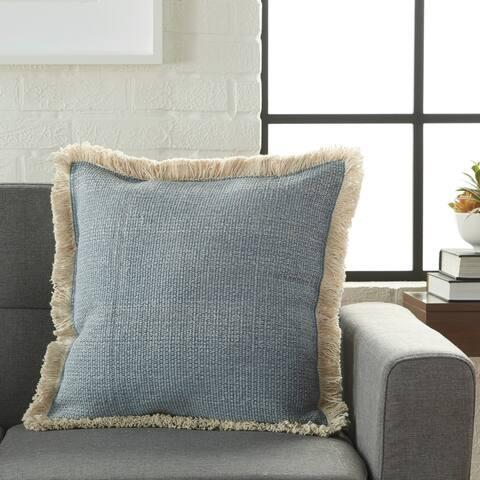 Mina Victory Ocean Blue Stonewash Throw Pillow