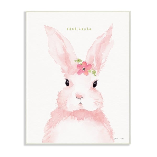 The Stupell Home Decor Baby Lapin French Pink Watercolor Bunny with Flower Wall Plaque Art, 10 x 15, Proudly Made in USA