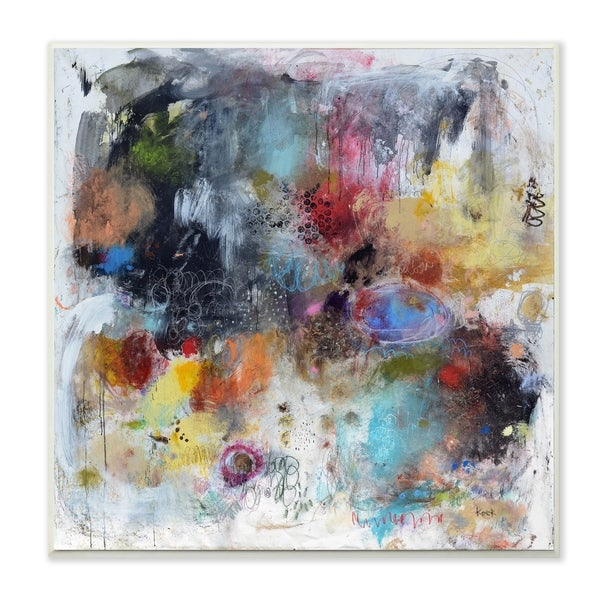 The Stupell Home Decor Multicolor Smoky Paint Cloud Abstract Painting Wall Plaque Art, 12 x 12, Proudly Made in USA - 12 x 12