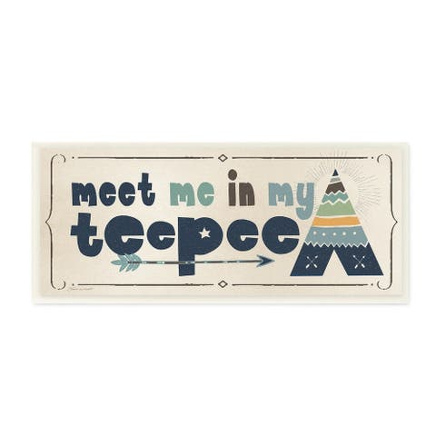 The Kids Room by Stupell Meet Me in my Teepee Navy Sign with Arrow Wall Plaque Art, 7 x 17, Proudly Made in USA - 7 x 17