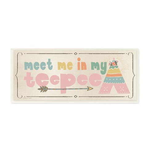 The Kids Room by Stupell Meet Me in my Teepee Pink Sign with Arrow Wall Plaque Art, 7 x 17, Proudly Made in USA - 7 x 17
